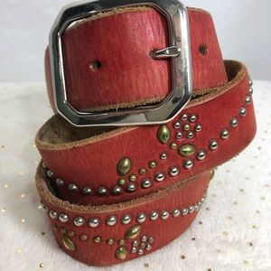 Vintage Jeff Gallea Red Leather Studded Belt  F136